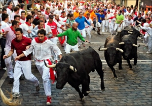 Running of the bulls in Pamplona an event in animal cruelty.